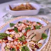 Vis salade met filo krokantjes