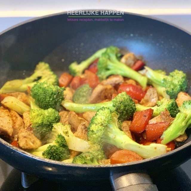 Snelle avondmaaltijd uit de wok