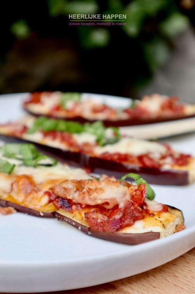 Gezonde aubergine pizza