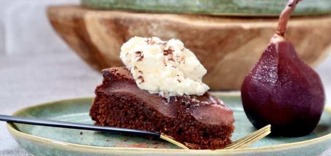 Chocolade brownie stoofperen taartje