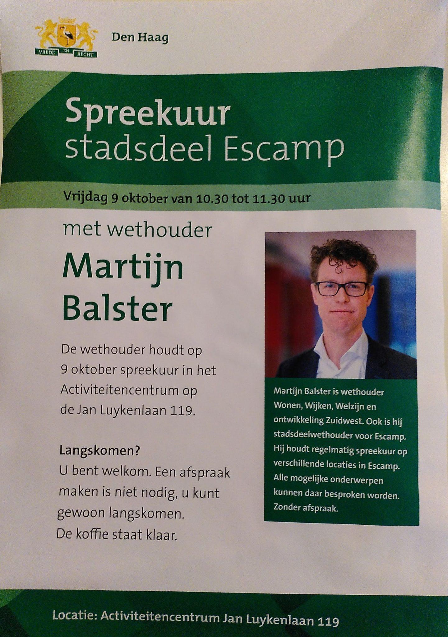 Spreekuur Martijn Balster 9 oktober 2020 Jan Luykenlaan 119 Moerwijk Den Haag via de Moerwijk Coöperatie