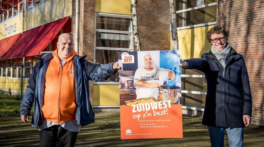 Lancering Zuidwest op z'n Best met Rico Roosen uit Moerwijk wethouder Martijn Balster Foto Den Haag FM