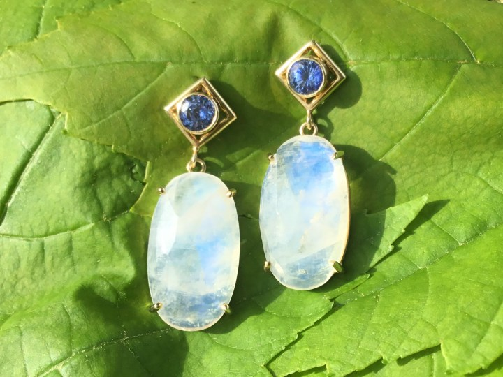 Faceted Moonstone and Ceylon Blue Sapphire Dangles