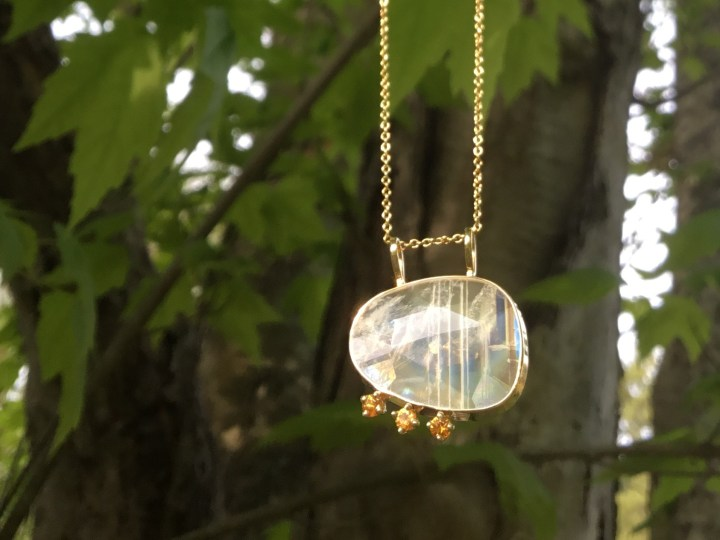 Faceted Moonstone and Yellow Sapphire Pendant