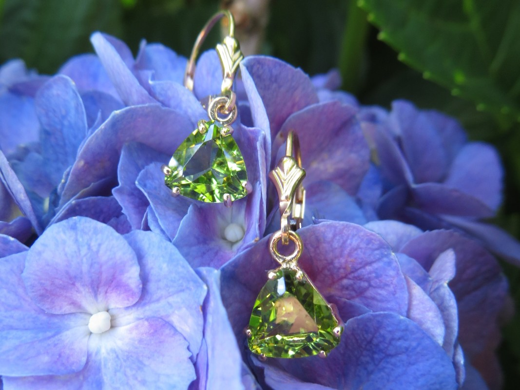 Earring, Earrings, Leverback Earring, Leverback Earrings, Dangle, Dangles, Peridot, Gold, Yellow Gold, 14Kt Gold, 14Kt Yellow Gold, Providence, Jewelry Store, Jewelry, Jeweler, Fine Jewelry, Custom, Custom-Made, Handmade, Platinum, Engagement, Wedding, Hegeman & Co.