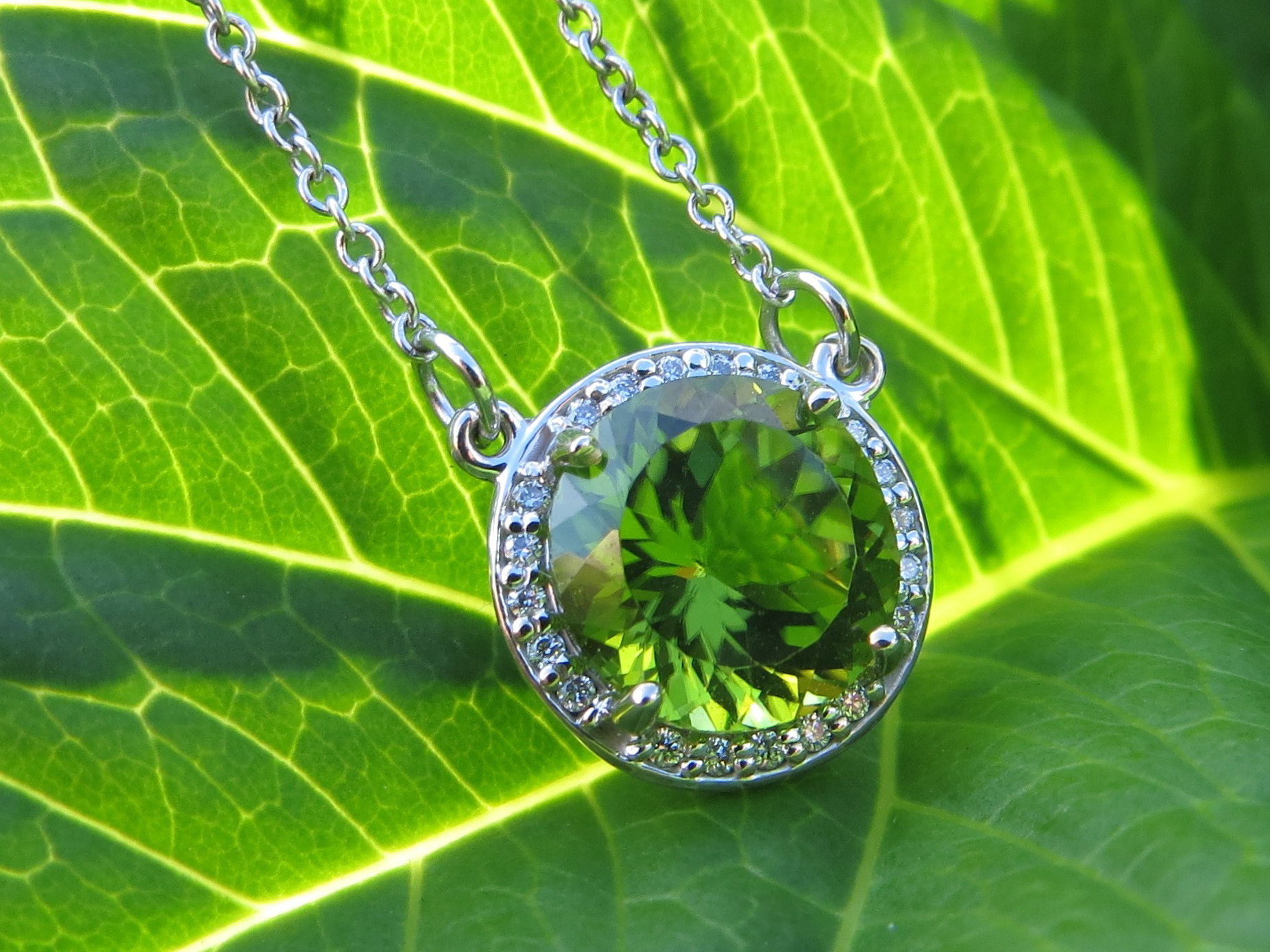 Peridot, Peridots, Necklace, Necklaces, Diamond, Diamonds, Diamond Halo, Diamond Halos, Gold, White Gold, 14Kt Gold, 14Kt White Gold, Providence, Jewelry Store, Jewelry, Jeweler, Fine Jewelry, Custom, Custom-Made, Handmade, Platinum, Engagement, Wedding, Hegeman & Co.