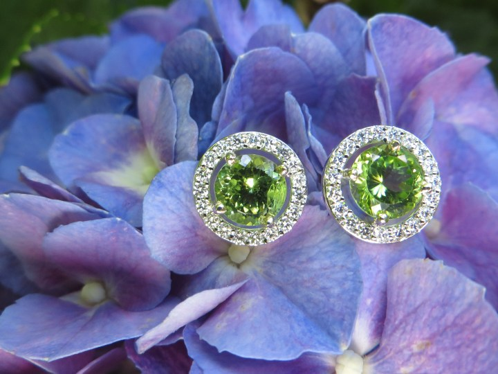 Peridot Earrings with Diamond Halo