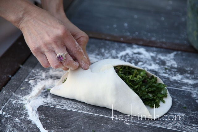 Armenian Jingalov Hats Greens Stuffed Bread