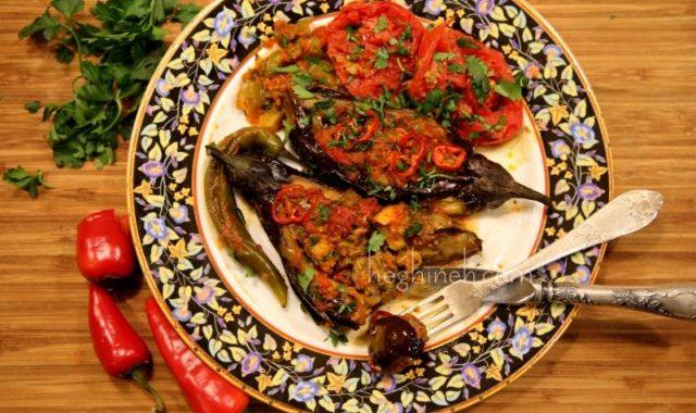 Zucchini Stuffed Eggplants - Դդմիկով Լցոնած Սմբուկ
