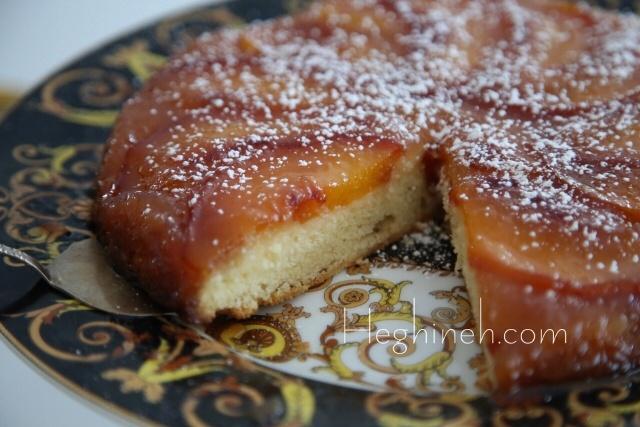 Upside Down Peach Cake Recipe by Heghineh