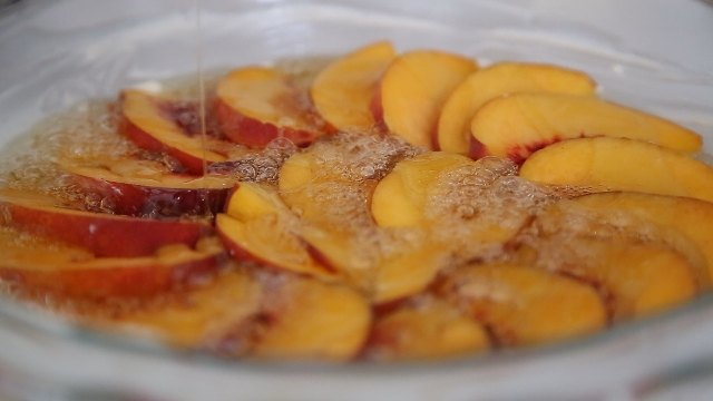 Upside Down Peach Cake Recipe by Heghineh
