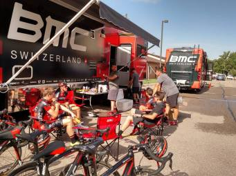 Preparing for the morning training ride the day before the Tour of Utah starts.