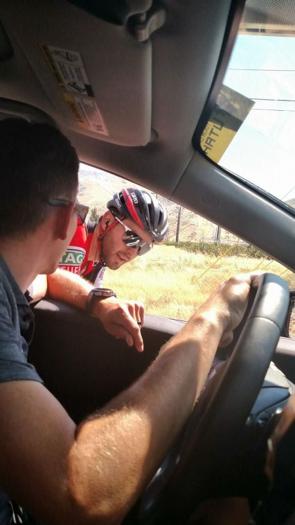 Eric Heiden snaps a pic of Joey in the break with 2 min on the peleton. - Day 2
