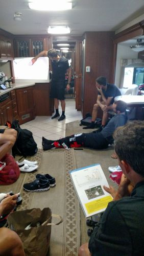 Another early start today and stage 5 race strategy is underway. A couple tough loops at the end. Shoes not required for this part.