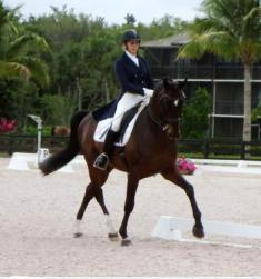 Win a Gen, aka. Whinny and Heidi Degele scored 70.65 percent in the Prix St. George at the Gold Coast Dressage Finale II held at the Global Dressage Stadium at PBIEC, Wellington, FL  (Photo: Al Guden)