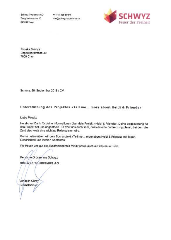 Unterstützung Tell Projekt durch Schwyz TourismusAG