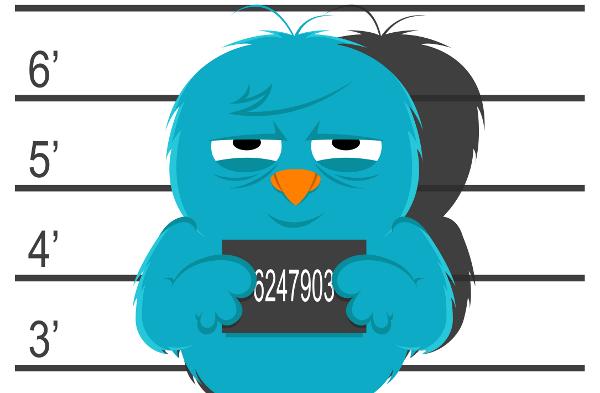 Blue bird mug shot- Twitter Jail