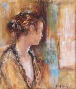 Girl with earings in oil