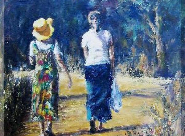 Two ladies walking