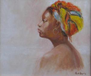 Lady in Doek - an oil portrait by Heidi BEyers