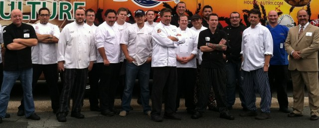 All 16 2013 Competition Dining Chefs pose in front of the trademarked mobile pantry with Competition Dining host and founder Jimmy Crippen