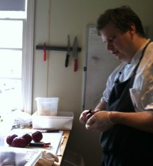 Chef Phil Barnes from Roosters South Park prepping beets for his fist course