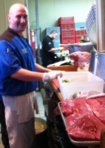 """Chef David """"Sully"""" Sullivan works with the evening's secret ingredient - Certified Angus Beef Strip Loin"""