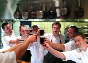 Chefs from Roosters and Gallery restaurants toast at the end of the evening to a battle well played