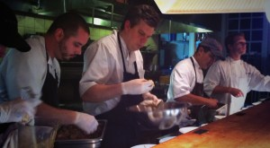In the true spirit of Competition Dining, all six chefs help to plate all six plates during service