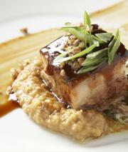 Dish 4 from Chef Dean Thompson and  the team at Fights Restaurant in Raliegh: Pepsi® & Mystery Brewing Smoked Rye Stout Braised Pork Belly Asian Pecan Glaze, Sweet Potato & Pecan Grits Leese-Fitch Chardonnay Creamed Collards