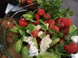 Quartered green tomatoes from Black's peaches in York South Carolina, tossed with watermelon, arugula and Clemson Blue Cheese for another version of a tasty late summer salad