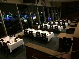 The dining rooms at Charlotte Motor Speedway's The Speedway Club - over look the track and this time of year, give diners a birds eye view of the holiday light display.