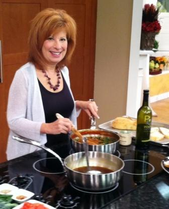 Heidi cooking with Pour olive oil