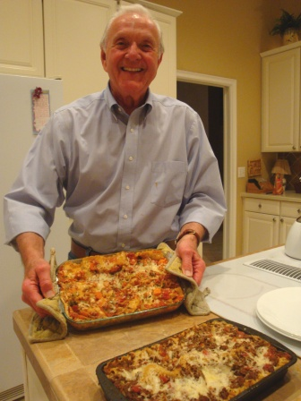 cooking classes James with lasagna