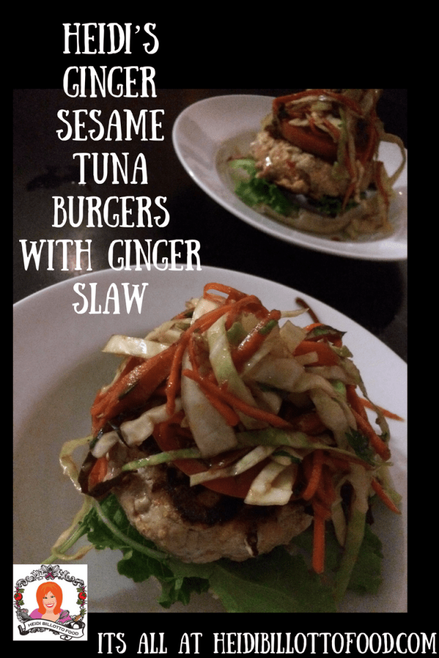 Heidi_s Ginger Sesame Tuna Burgers with Ginger Slaw