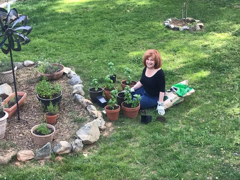 girl in herb garden