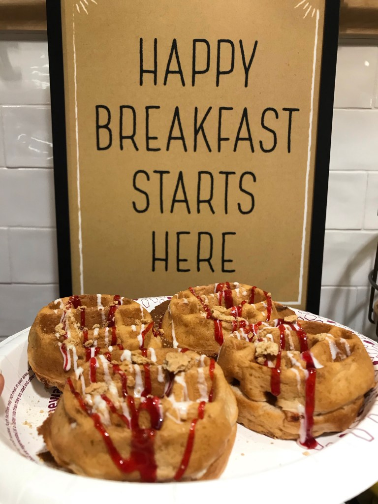 waffles and a sign