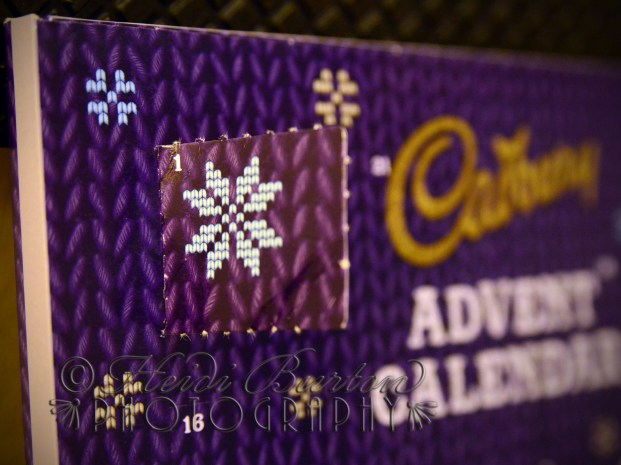 1st December 2013 - I only bought the advent calendar for the pretty knitted effect, and nothing whatsoever to do with the chocolate inside - honest! Heidi Burton ABIPP