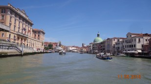 Travelling up the Grand Canal on the 'vaporetto'