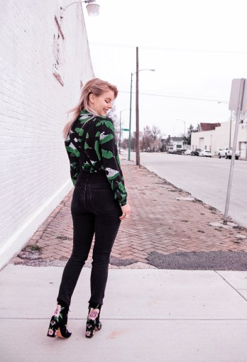 Zoe Karssen Floral Button down with Madewell Black Overalls