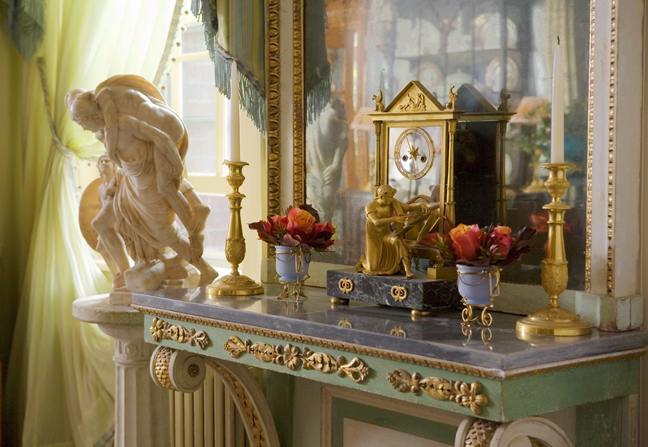 Heidi Pribell Vignette of Marble stand with Mirror