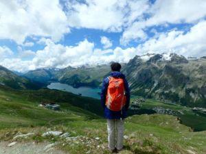 Hiker_Admiring_Engadin_Landscape_Switzerland_by_Heidi_Siefkas