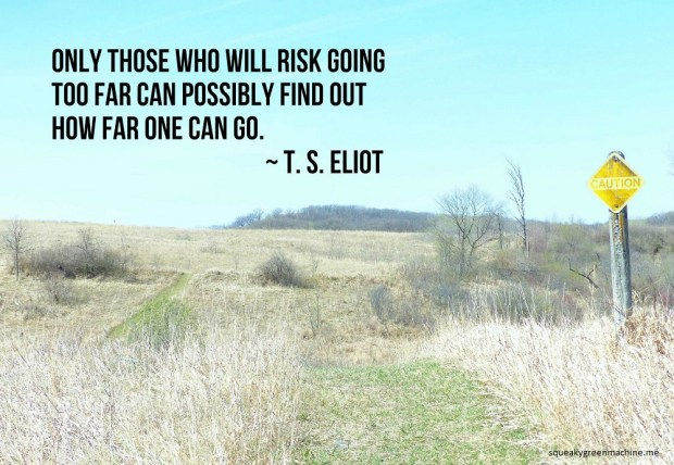 grass path through prairie hills with the T. S. Eliot quote: Only those who will risk going too far can possibly find out how far one can go.