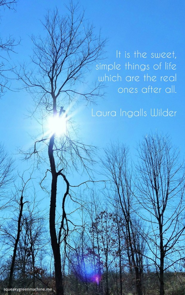 Trees with sunlight behind and Laura Ingalls Wilder inspirational quote about life: It is the sweet, simple things of life which are the real ones after all.