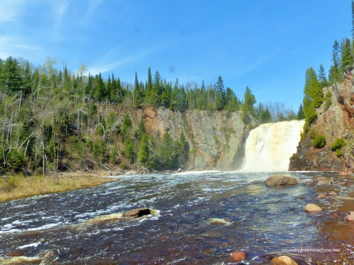 the view from below of high falls at tettegouche state park