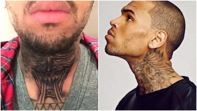 Chris brown tattoos house cars for Chris brown neck tattoo rihanna face