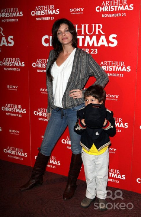 Actress Vanessa Ferlito along side her son Vince