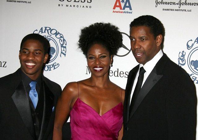 Malcolm Washington and his parents, Denzel and Pauletta Washington