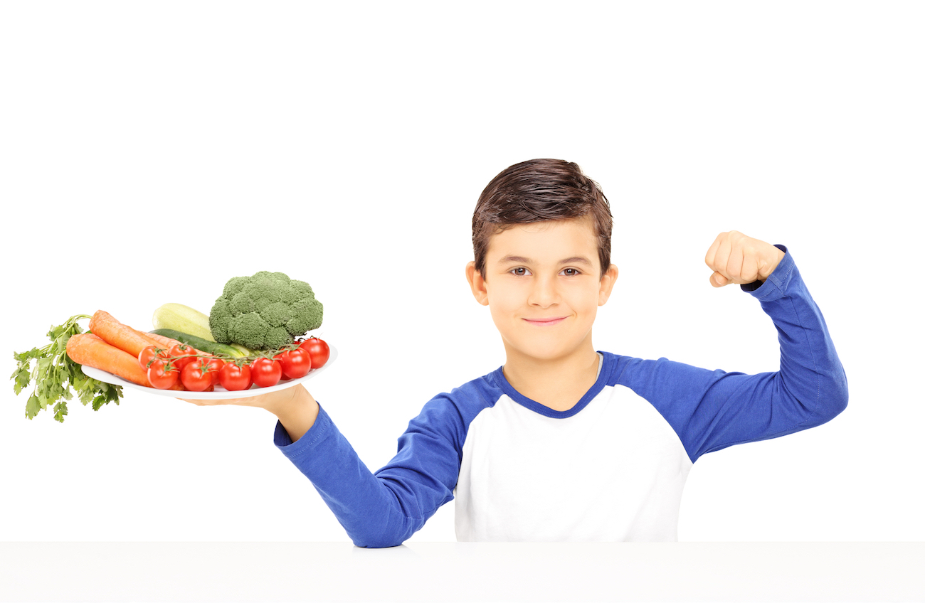 kid excited to eat vegetables