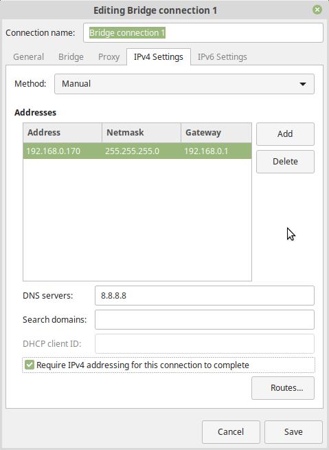 manual IPv4 settings